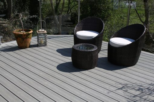 Furniture on a grey Trex Deck