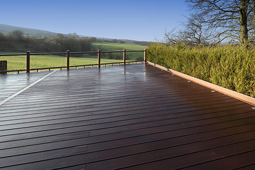 A Trex Composite deck looking out over the British countryside