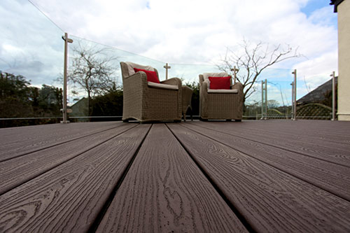 Wide Angle Floor view of Trex Composite Decking and furniture